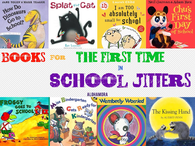 Books for Kids Starting School for the First Time.  These 8 books in this book list are for the kids (boys and girls alike) and parents that worry about school, apprehensive about what to expect, and just a little afraid to leave mom and dad.  These books are funny, and enjoyable reads that make great read alouds and some bibliotheraphy.  Alohamora Open a Book http://www.alohamoraopenabook.blogspot.com/ Toddlers, preschool, kindergarten, 1st and 2nd grade, school, new, start, first time