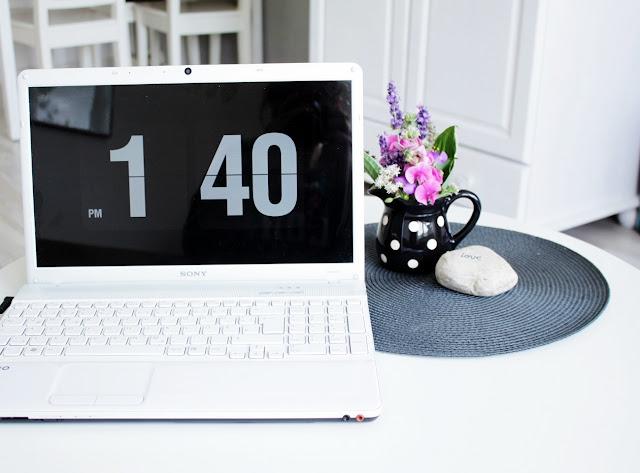 sortowanie, komputer, zegar cyfrowy, laptop