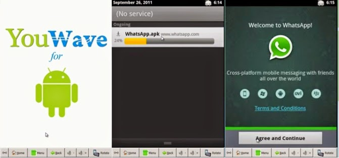 Download and install WhatsApp on PC (Windows 7.8) using YouWave
