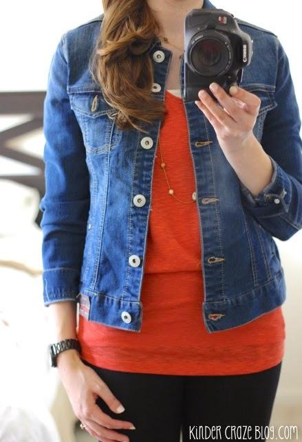 denim, orange sweater, leggings, gold neckace = LOVE  #StitchFix