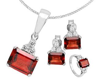 Silver Gemstone Jewelry Set