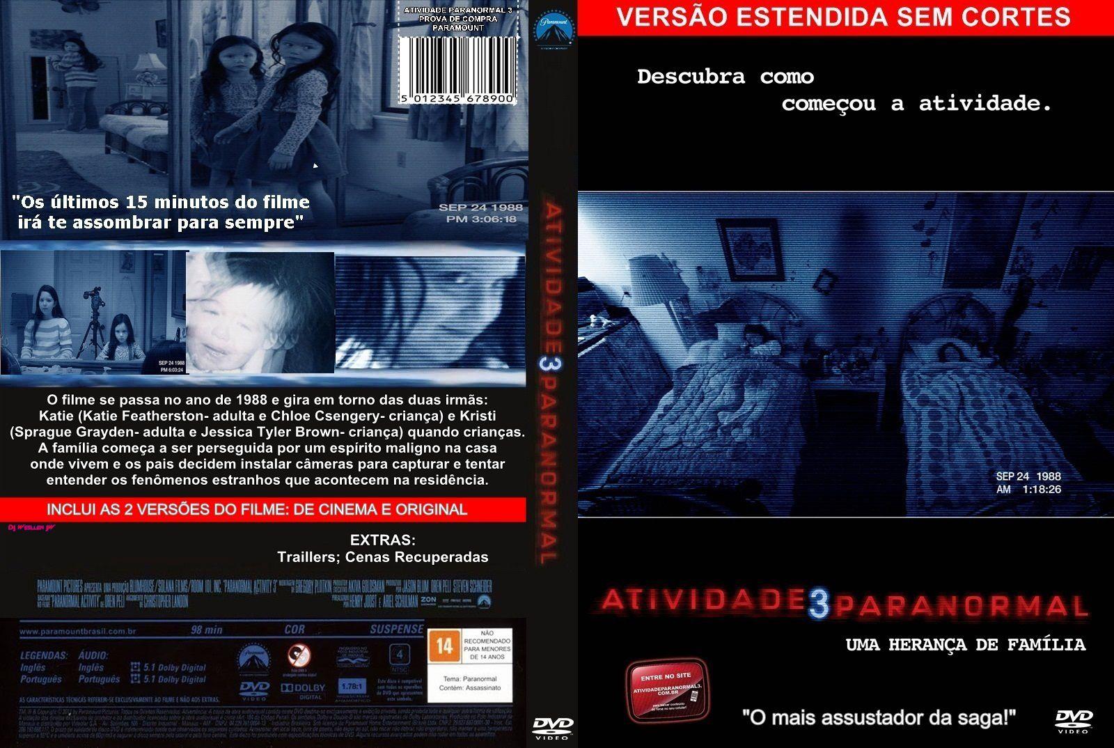 Capa DVD Atividade Paranormal 3