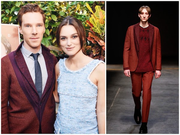 Benedict Cumberbatch wears Casely Hayford Fall Winter 2014 double collar tweed blazer at The Weinstein Company The Imitation Game brunch 9th November 2014