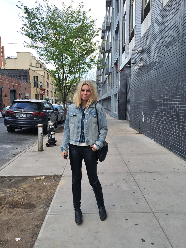 Fashion Over Reason, Gap double denim jacket, leather pants, Frye shooties