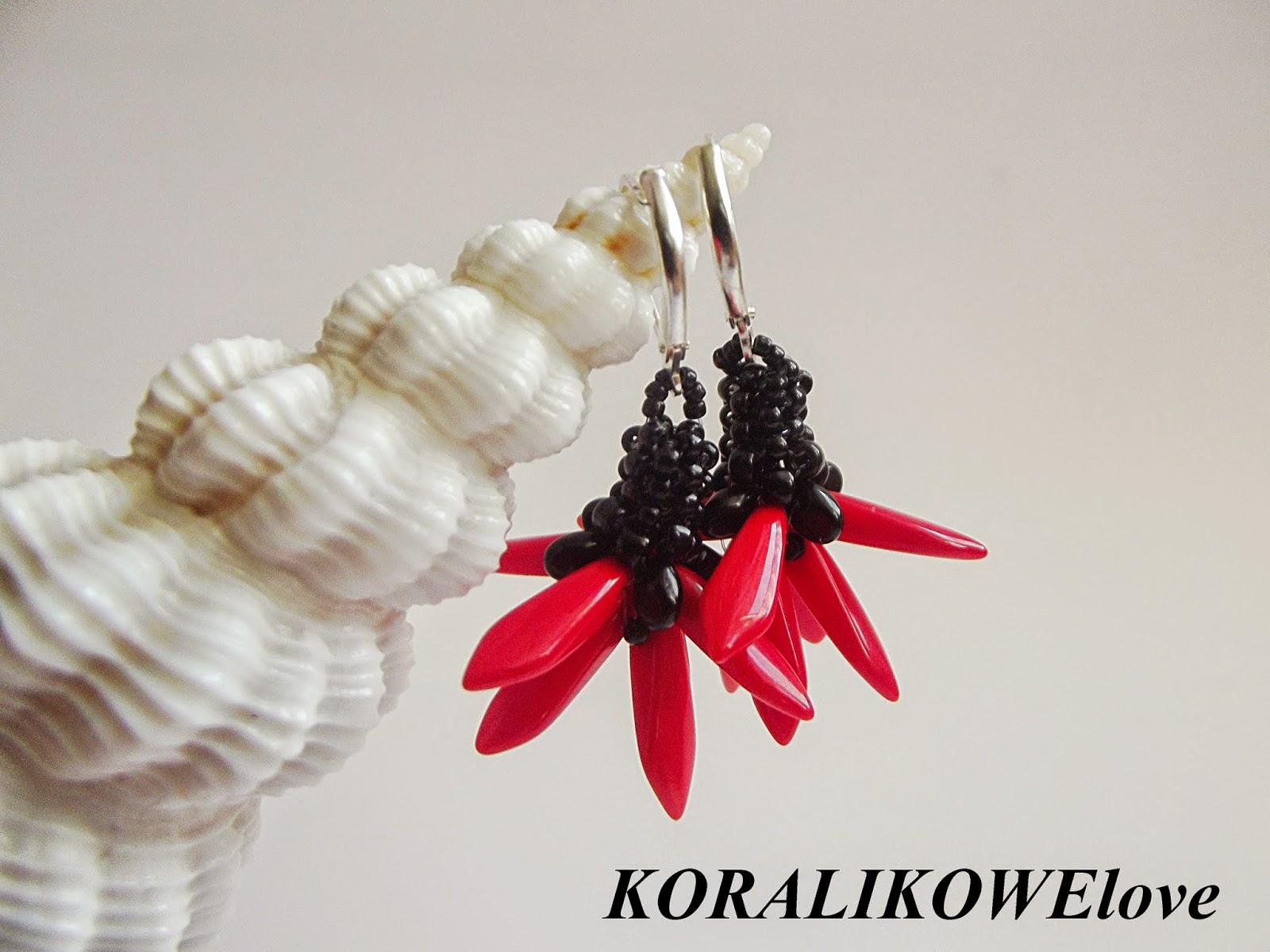 kolczyki z koralików,koraliki,dagger beads,toho