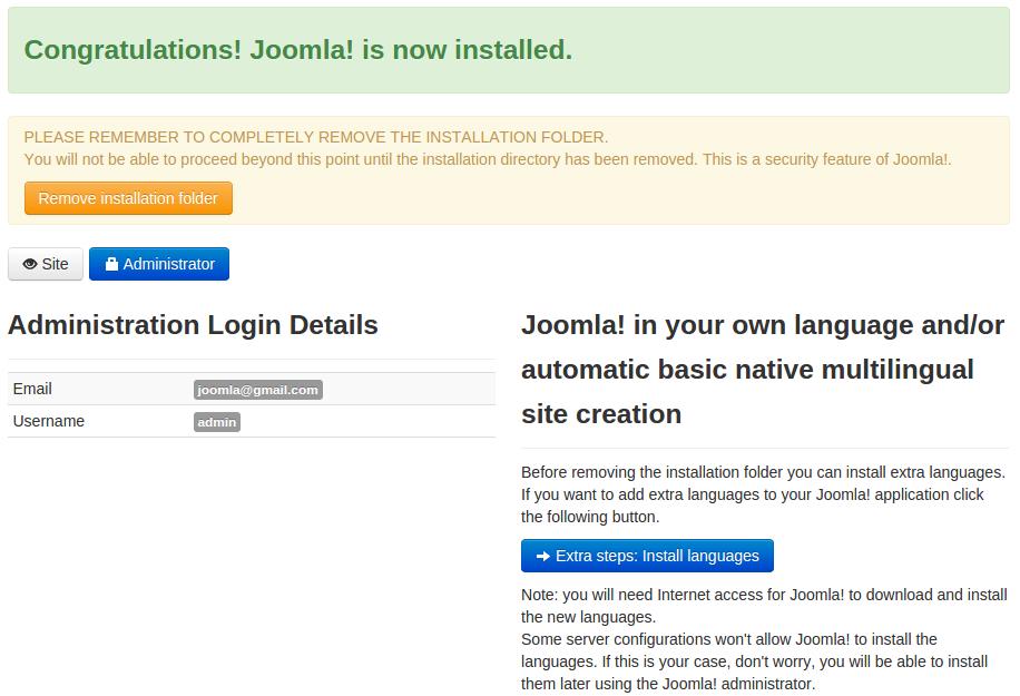 notifikasi instalasi joomla telah selesai