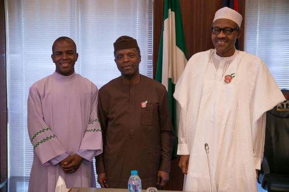 Photos: Fr Mbaka visits Buhari at the State House