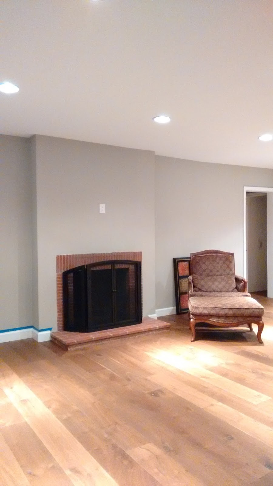 hardwood floors fireplace makeover DIY project home improvement renovation remodel