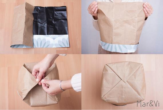 portavasi con sacchetti di carta