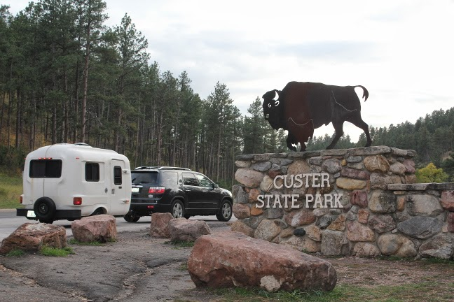 Fiberglass U-haul (uhaul) CT13 Camper Entering Custer State Park, SD