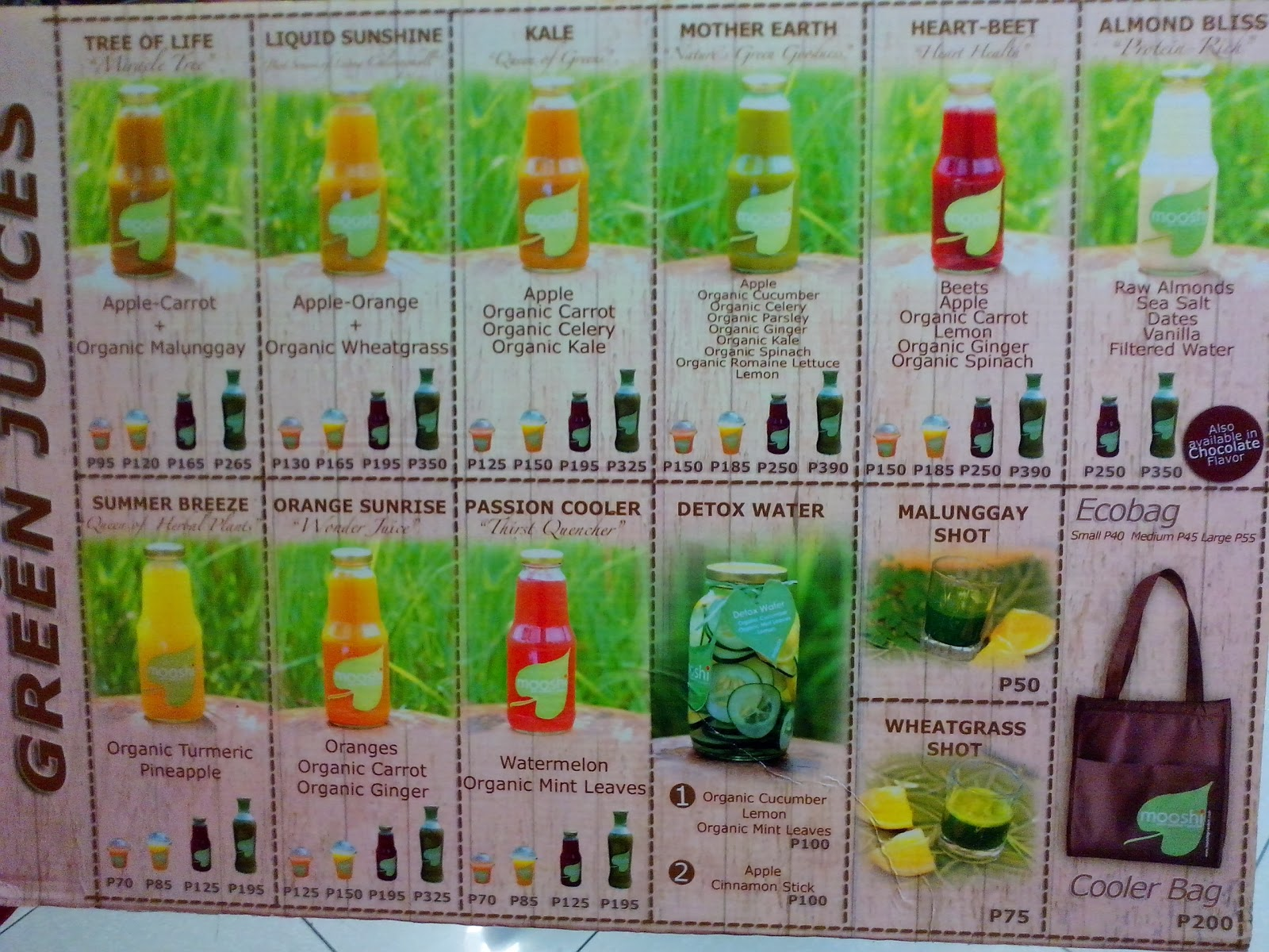 #032eatdrink, food, clean drink, detoxify cebu, green juices, smoothies,  Mooshi Green Smoothie + Juice Bar Menu