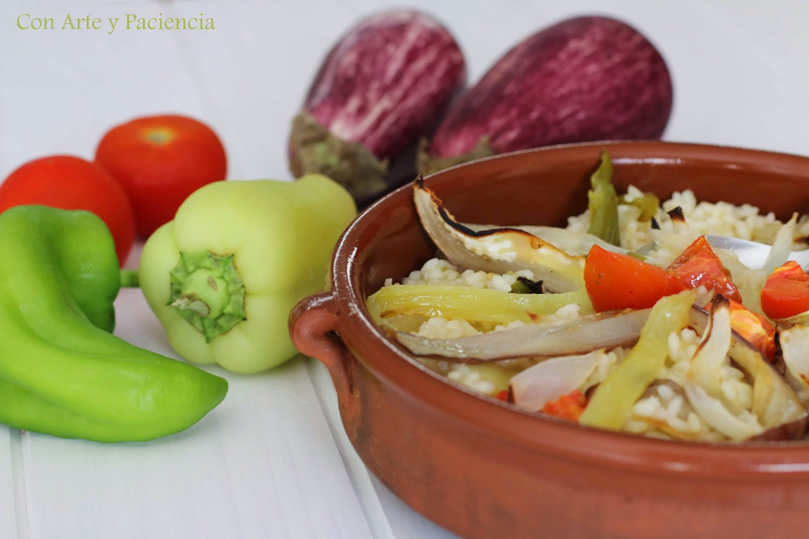 risotto,verdura,asada,queso,parmesano,receta,italiana,casera,homemade,berengena,pimiento,cebolla,tomate,aceite,oliva,horno,casera,
