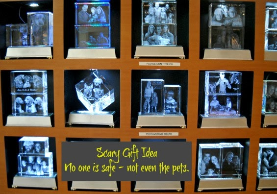 Scary Gift - family and pets trapped in glass cube