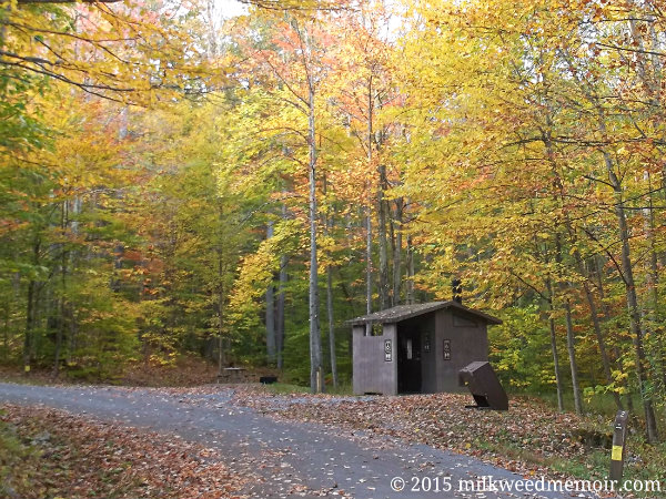 Pit toilet in trash can among fall foliage at Summit Lake Campground, Monongahela National Forest, Richwood, West Virigina