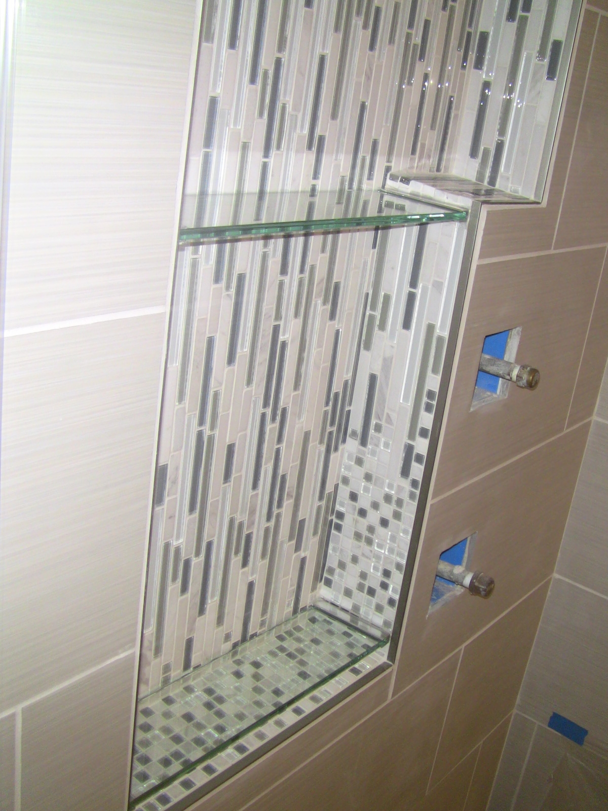 Shower Niche Shelves. The Bottom Of The Tile Is Angled 5 Deg For Water  Drainage, So Lowest Shelf Is Just Above