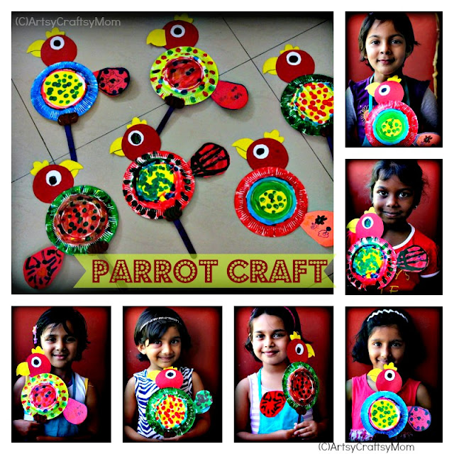 paper plate parrots Paper Plate Parrot   Craft class crafts age5 7 age3 5  Paper Crafts