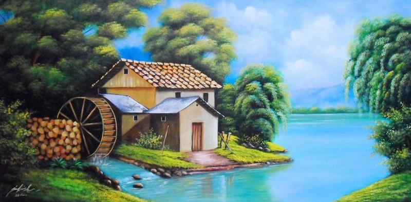 Cuadros modernos pinturas y dibujos paisajes al leo f ciles - Paisajes de casas ...
