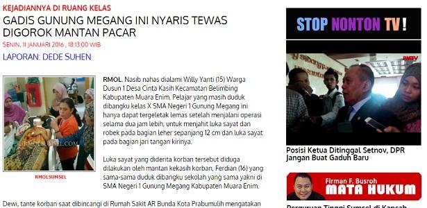 Seorang Gadis Nyaris Tewas Karena Digorok Mantan Pacar, Bang Syaiha, http://bang-syaiha.blogspot.com/