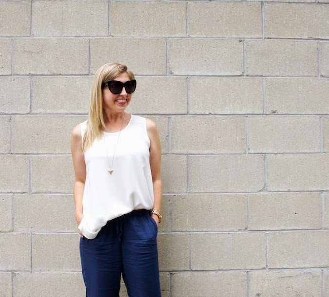 anne fontaine tank, abercrombie drapey olivia pants, boston fashion blog