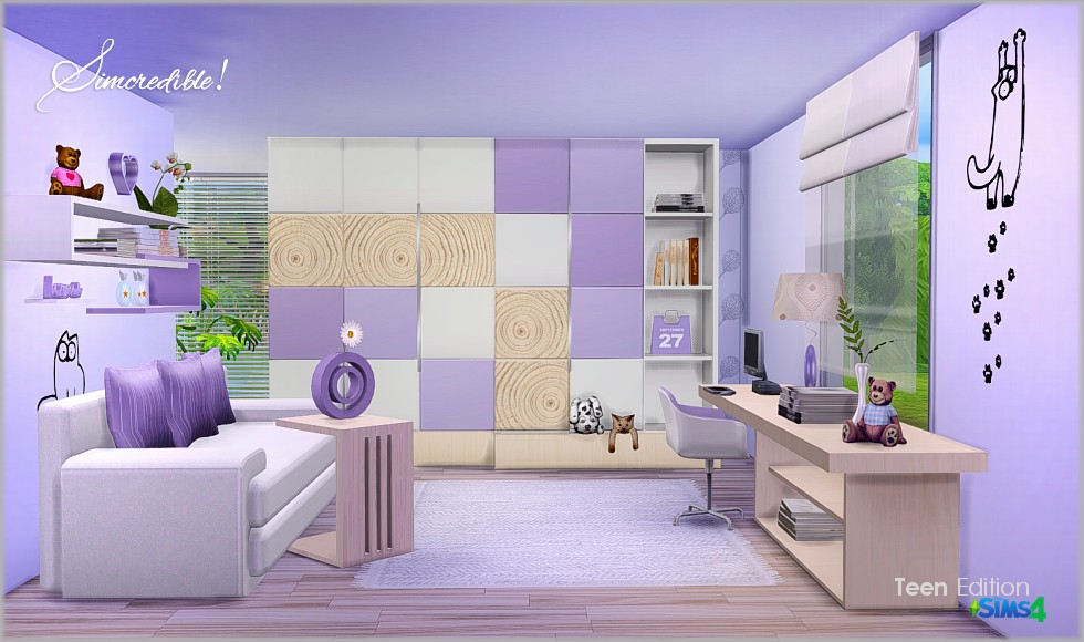 My sims 4 blog teen bedroom set by simcredible designs for Bedroom designs sims 4