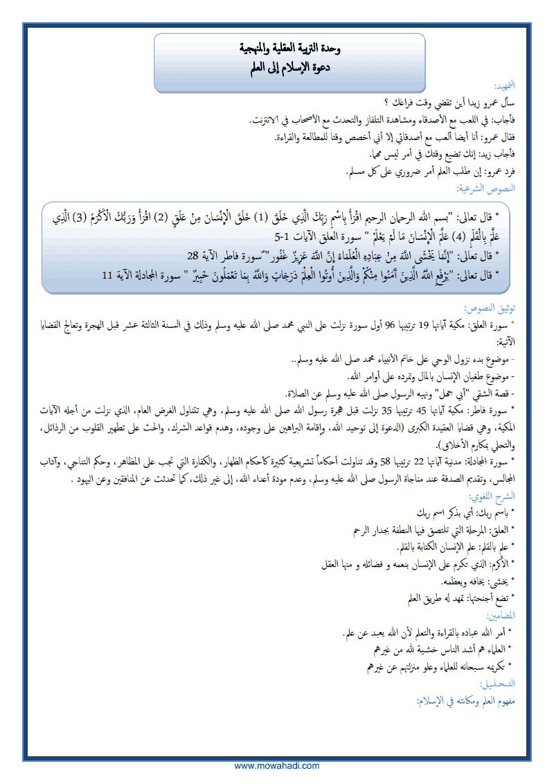 دعوة الاسلام الى العلم -1