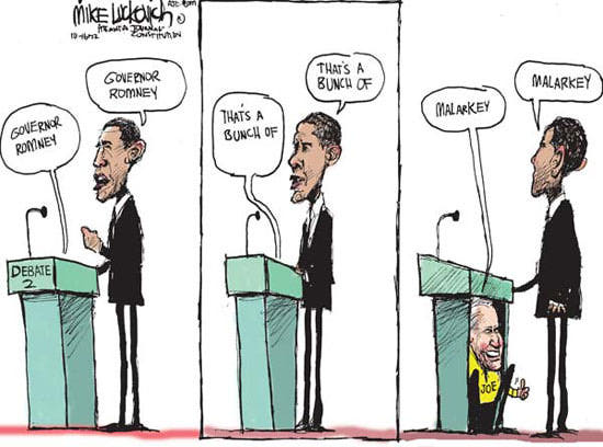 Barack Obama cartoon, Obama Second Presidential debate, Obama political cartoon