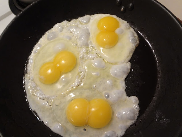 3 eggs, double yolks
