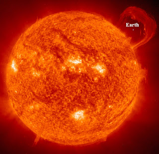 earth compared to sun