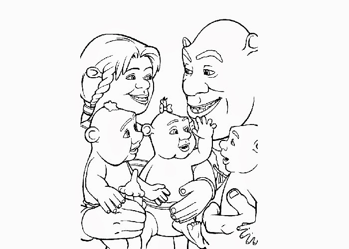 shrek family coloring pages