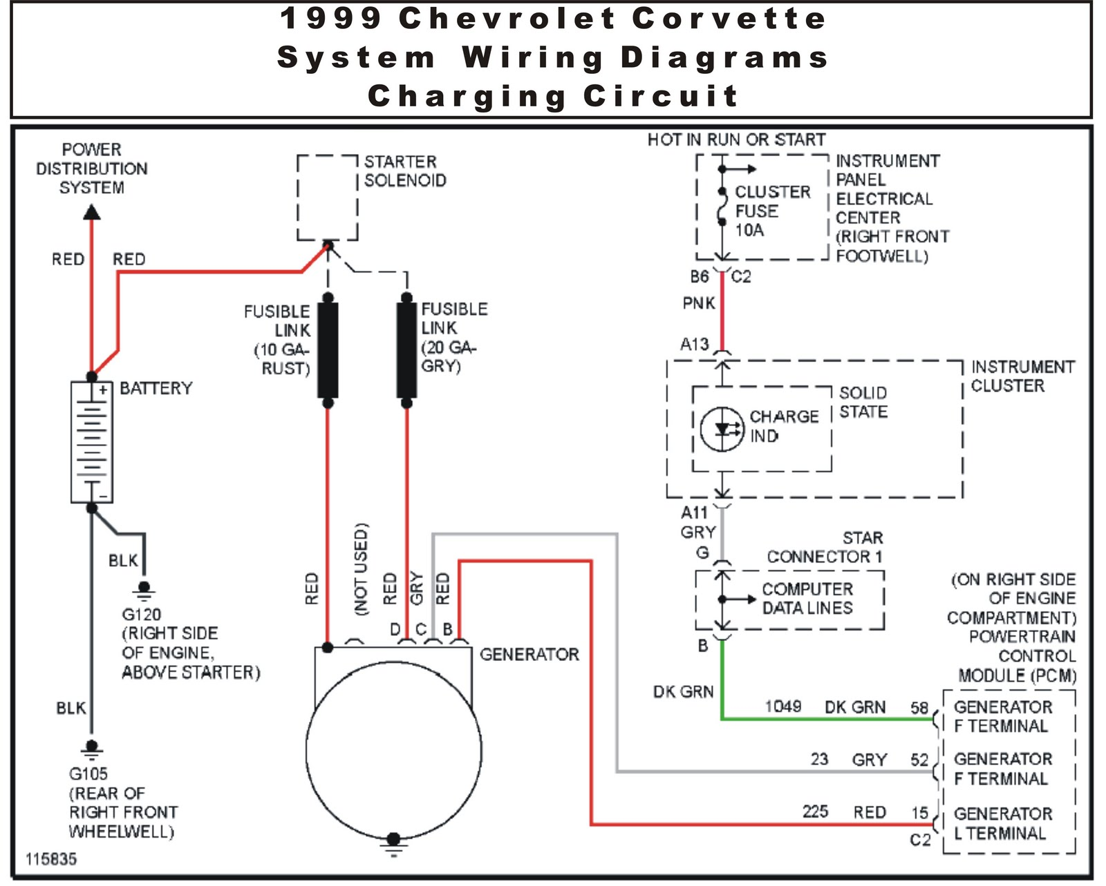 1999 Chevrolet Corvette System Wiring Diagrams Charging