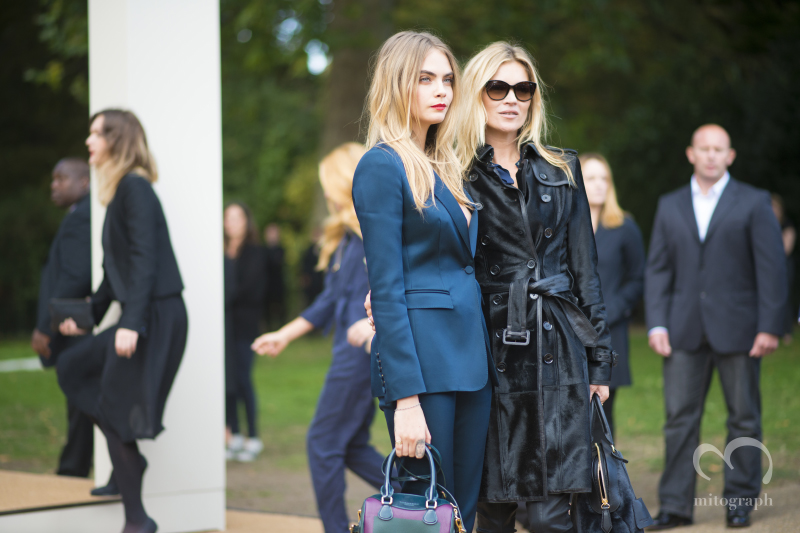 Model Cara Delevingne and Kate Moss at Burberry Prorsum 2015 Spring Summer LFW