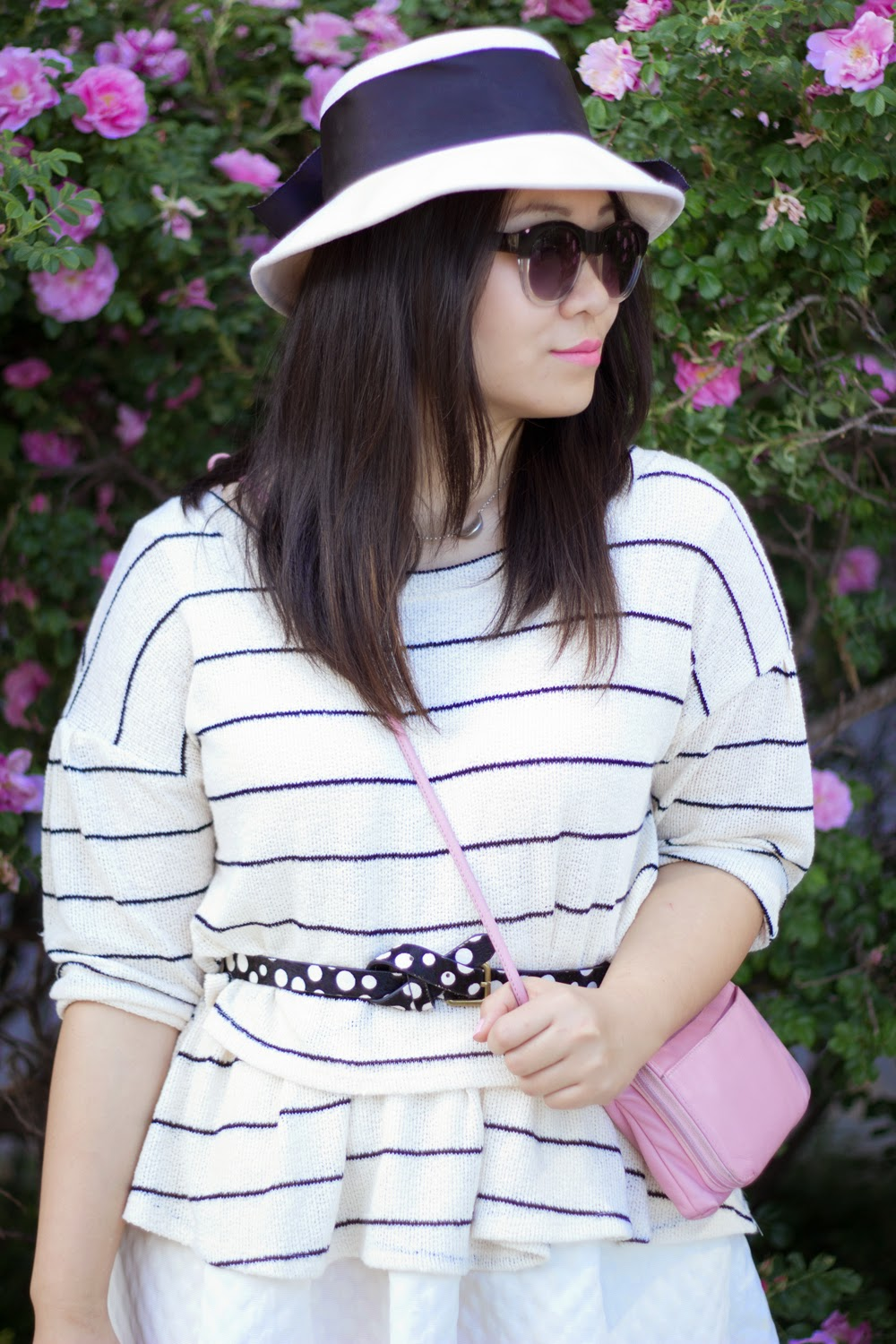 Anthropologie-Stripe-sweater, retro-hat-with-bow, BCBGeneration-sunnies