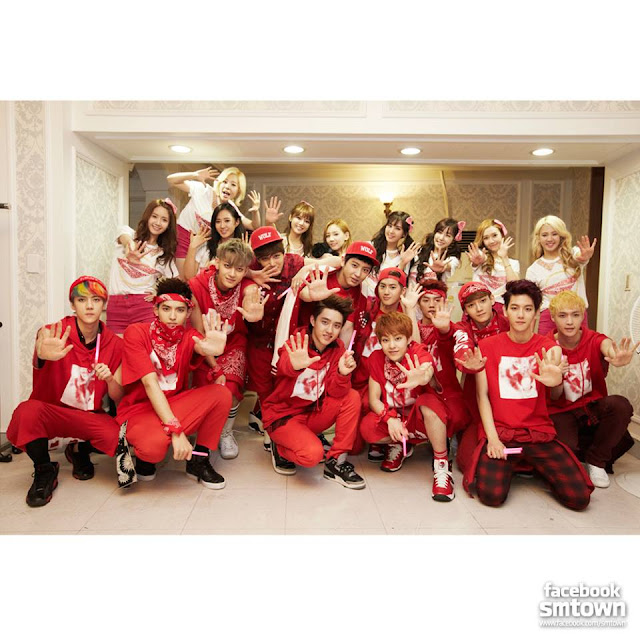 [Picture] 130610 Girls' Generation with EXO from SMTOWN Official Facebook