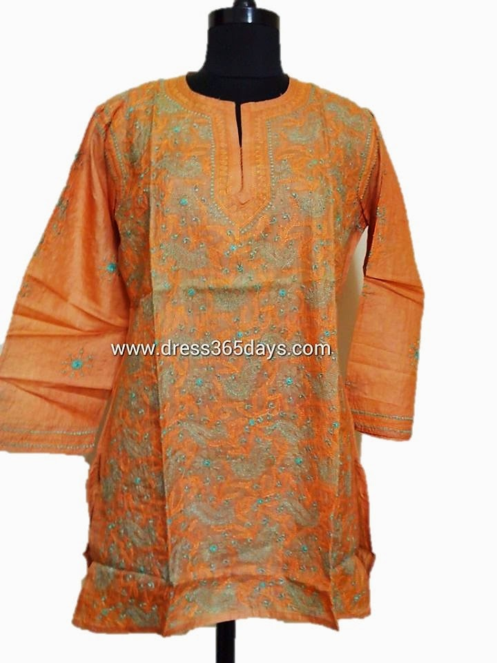 Orange Colour Tussar Silk Kurti