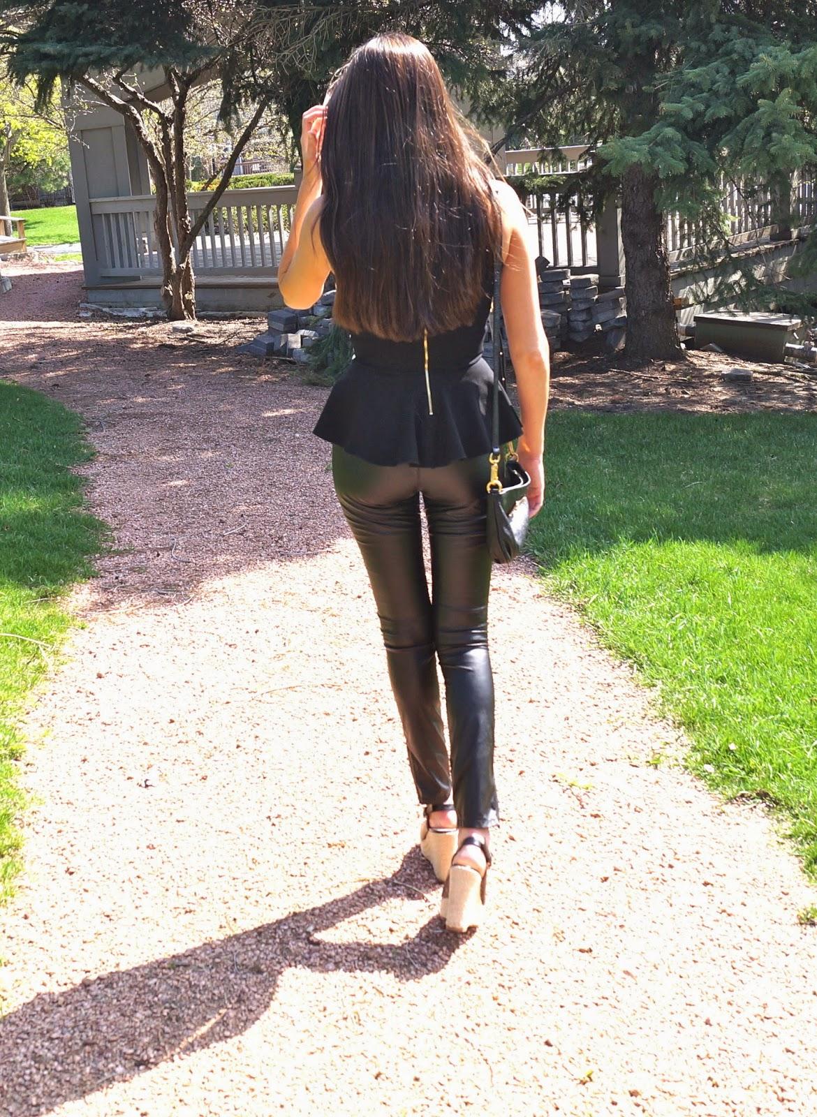 faux leather pants, intermix peplum top