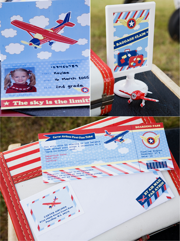 Little Aviator Airplane Inspired Birthday Party Printables Invitation Ticket