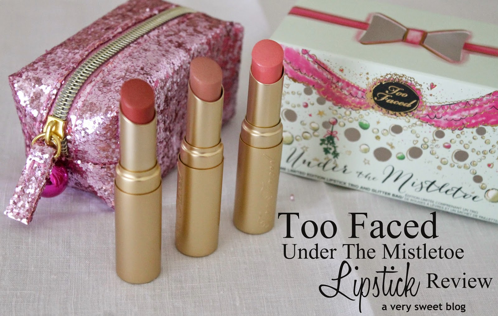 Well, if you kiss somebody under the mistletoe, don't use these! LOL This Too Faced Cosmetics Under The Mistletoe holiday lipstick set ($28), contains 3 full-sized lipsticks of their BEST SELLING shades! However, these are the SHIMMER and NOT LA CREME versions (I .
