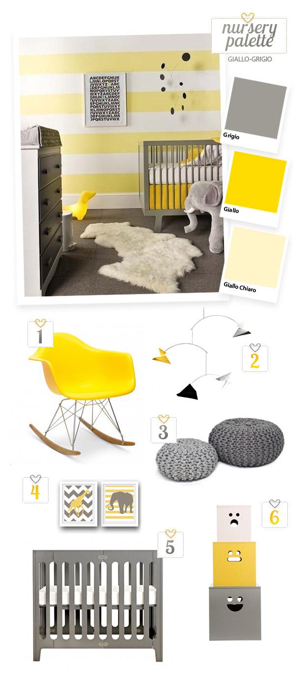Arriva la cicogna nursery gialla e grigia ispirazioni - Colori cameretta neonato ...