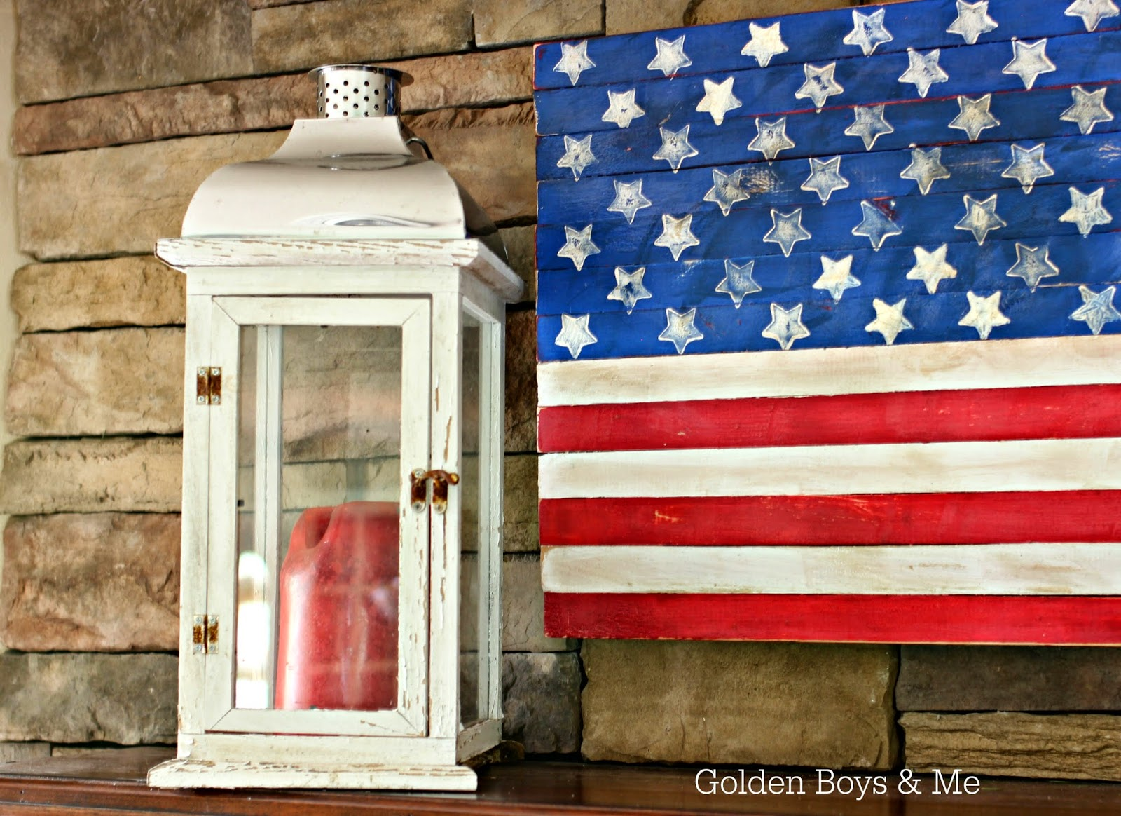 DIY wood American flag distressed and lantern on Americana Summer Mantel-www.goldenboysandme.com