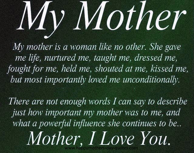 I Love You Quotes To Mom : Love My MOM Quotes From Daughter For Mothers Day 2015