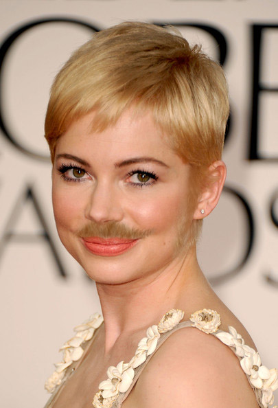Michelle Williams from Oz The Great and Powerful with a mustache