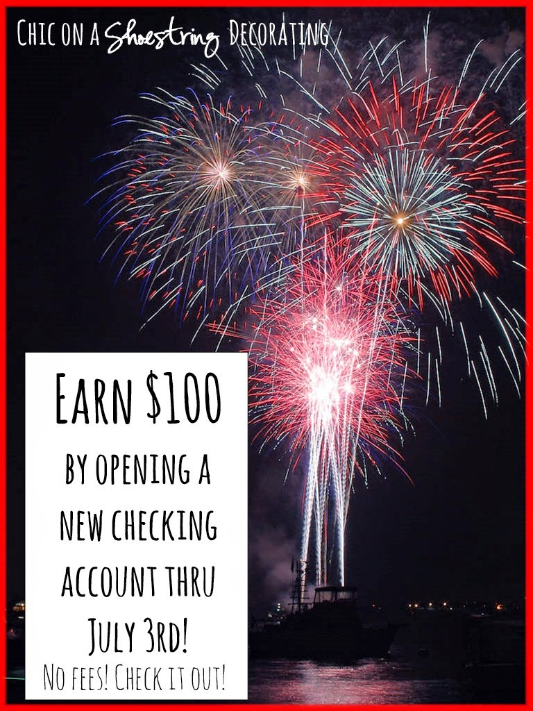 chic on a shoestring decorating, earn $100 checking account