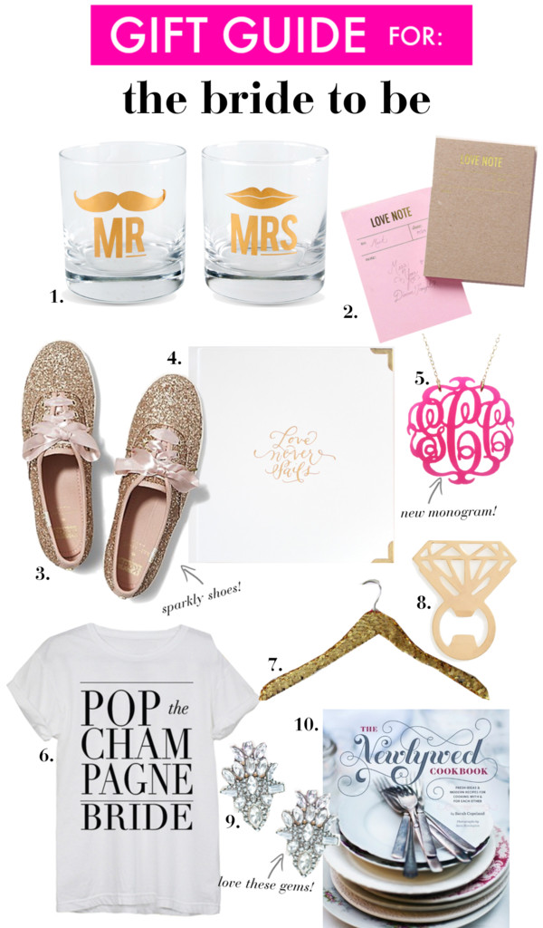 Gift Ideas for: The Bride to Be | Perfect Christmas Presents for celebrating engagements or newlyweds!
