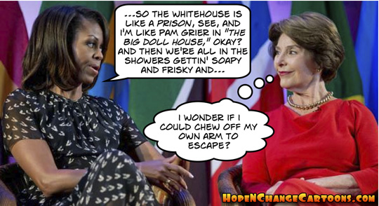 obama, obama jokes, michelle, laura bush, prison, whitehouse, conservative, hope n' change, hope and change, tea party, vacation, stilton jarlsberg, pam grier, prison movies
