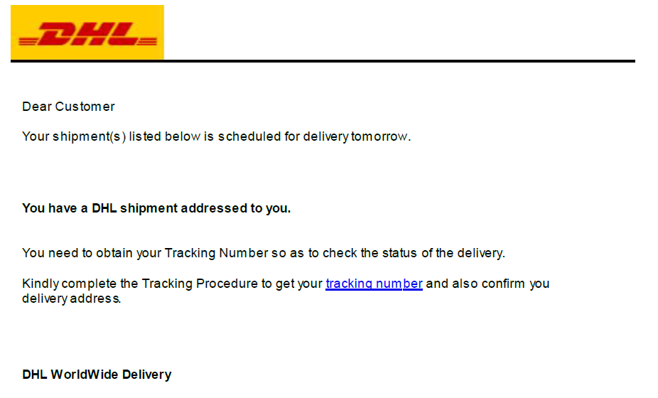 Dynamoo S Blog Dhl Themed Phish Goes To A Lot Of Effort