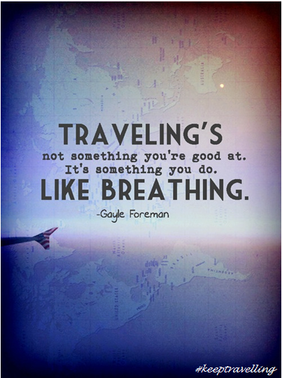 traveling's like breathing quote, travel quote, inspirational travel quotes