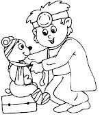 Niño jugando a Doctor para colorear. Dibujo de Niño jugando a Doctor para . (salud )
