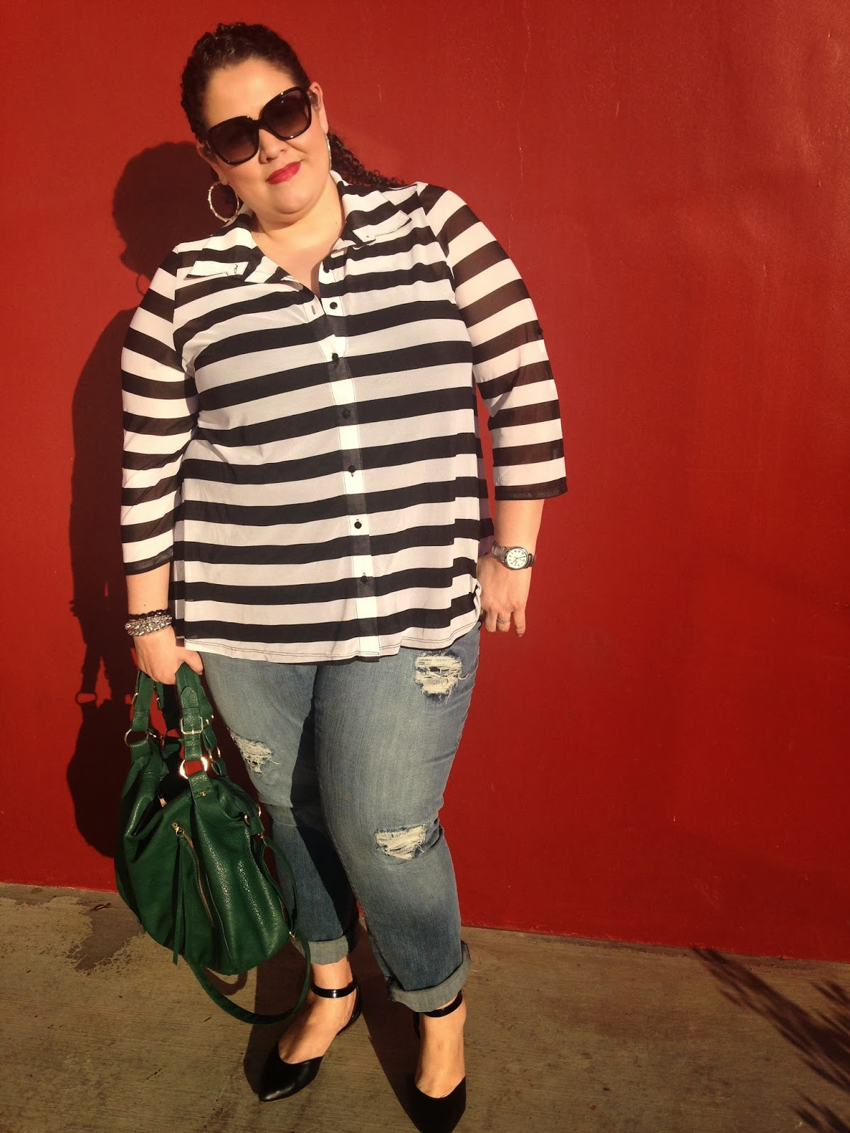 cid style file, stripes, black and white, plus size fashion, jessica simpson jeans, coach sunglasses, steve madden bag