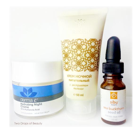night creme, ночное средство для лица, Derma E - Hydrating Night Creme,100% масло семян облепихи от Sibu Beauty, tentorium