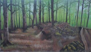 Mural de bosque de primavera